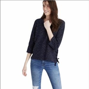 Madewell 3/4 Sleeve Lace Side Striped Sweater